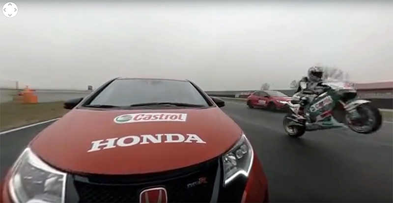 Honda MotoGP vs Civic Type R vs Touring Car - Video 360!