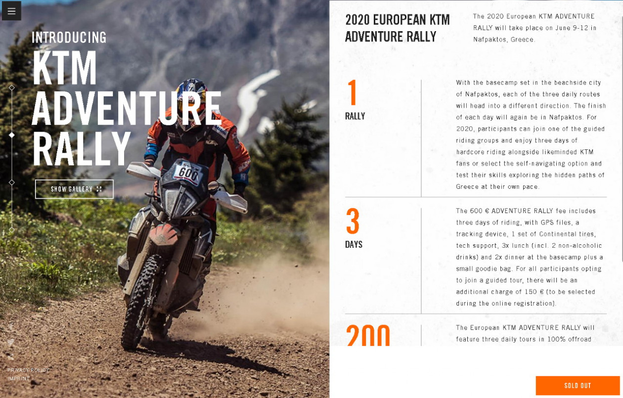 KTM Adventure Rally 2020 στη Ναύπακτο - Sold out με το καλημέρα!